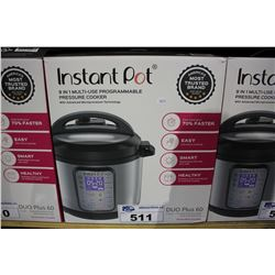 INSTANT POT 9 IN 1 MULTI-USE DUO PLUS 60 PROGRAMMABLE PRESSURE COOKER