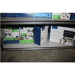 """SHELF LOT OF ASSORTED INSIGNIA TV WALL MOUNTS 13-32"""" AND 33-46"""", AND DESKTOP MONITOR MOUNTS"""