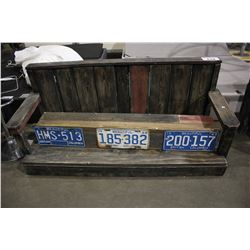 WOODEN BENCH WITH LICENSE PLATE DECOR