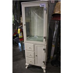 WHITE METAL BEVELLED GLASS DOCTOR'S OFFICE MEDICINE CABINET CIRCA 1940'S *WITH EXTRA KEYS IN OFFICE