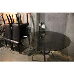 ROUND GLASSTOP TABLE WITH FOUR BLACK PADDED CHAIRS