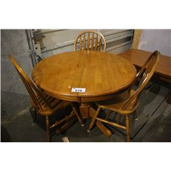 ROUND WOOD DINING TABLE WITH THREE CHAIRS