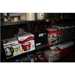 SHELF LOT INCLUDING COOLER, MAGIC BULLET, GAS RANGE, RICE COOKER, KETTLE AND MORE
