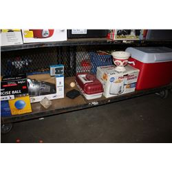 SHELF LOT INCLUDING COOLER, TOASTER, TACKLE BOX, EXERCISE BALL, DIRT DEVIL AND MORE
