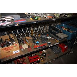 SHELF LOT INCLUDING HANDHELD TOOLS, SCROLL SAW, WOODWORKING TOOLS AND MORE