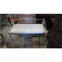 WHITE METAL AND LEATHER ENTRY BENCH