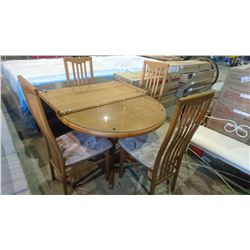 ROUND GLASS TOP TABLE AND 4 CHAIRS WITH LEAF