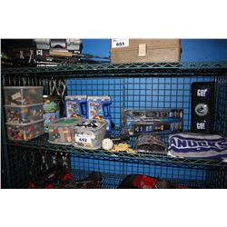 SHELF LOT INCLUDING BUCKETS OF LEGO, FLYING ROCKET, CANUCKS MEMORABILIA AND MORE