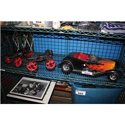 PAIR OF SKORPION ROLLER SKATES AND MODEL CAR