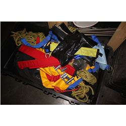 LARGE STORAGE BIN FILLED WITH ASSORTED STRAPPING, ROPE AND MORE