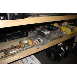 SHELF LOT OF ASSORTED TOOLS AND HARDWARE