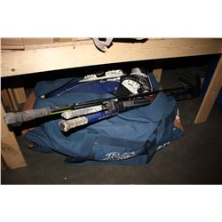 HOCKEY BAG WITH BLADES, STICKS, PADDING, JERSEYS AND MORE