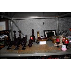 SHELF LOT INCLUDING RED AVON CAPE COD COLLECTION GLASSWARE, ASSORTED DECOR AND MORE