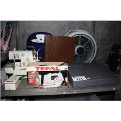SHELF LOT INCLUDING SINGER SEWING MACHINE, IRON, SMITH CORONA TYPING MACHINE, FAN, AND MORE
