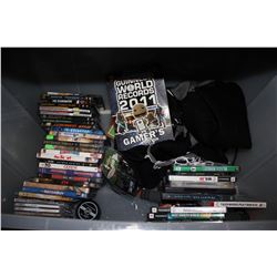 BIN OF DVDS, GAMES, BOOK, AND MORE