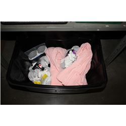 BIN OF ASSORTED CLOTHING INCLUDING SOCKS