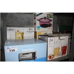 SHELF INCLUDING GLASSWARE, TOASTER OVEN, 3.5L STOCK POT AND CANISTER SET