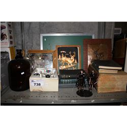 SHELF LOT INCLUDING FRAMED ARTWORK, TWO GLASS JUGS, RC RACE CAR, BOOKS AND MORE