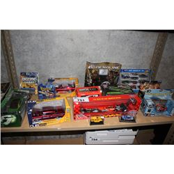 SHELF LOT OF MODEL CARS, TOY CARS AND MORE