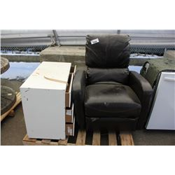 PALLET WITH BROWN RECLINER AND SMALL WHITE DRESSER