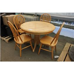 ROUND WOODEN TABLE AND 4 CHAIRS (SOME SCRATCHES)