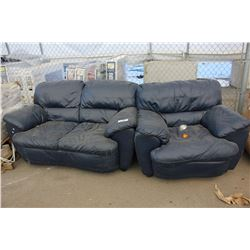 NAVY LEATHER LOVESEAT AND CHAIR