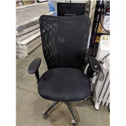 BLACK ROLLING OFFICE CHAIR WITH MESH BACK