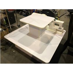 WHITE SQUARE 2 TIER STORE DISPLAY
