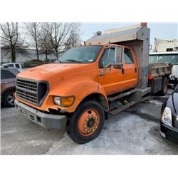 2001 FORD F-650 XL SUPER DUTY, DUMP TRUCK, ORANGE, VIN # 3FDWW65Y81MA82564
