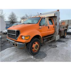 2001 FORD F-650 XL SUPER DUTY, DUMP TRUCK, ORANGE, VIN # 3FDWW65Y61MA82563