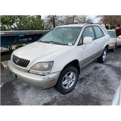 2000 LEXUS RX300. 4DR SUV, WHITE, VIN # JT6HF10U1Y0104347