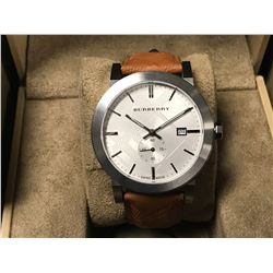 BURBERRY MENS SWISS CHRONOGRAPH THE CITY BROWN LEATHER STRAP