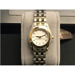 GUCCI WOMENS TWO TONE WHITE DIAL STAINLESS STEEL WATCH