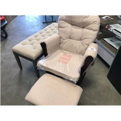 GLIDER ROCKER WITH FOOTSTOOL PLUS PADDED BED BENCH
