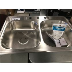 HOUZER STAINLESS STEEL DOUBLE BOWL SINK