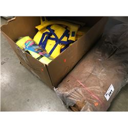 BOX OF LIFE JACKETS & ROLL OF BUILDING MATERIAL