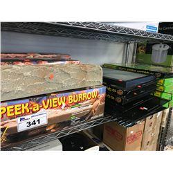 SHELF OF NEW PEEK-A-VIEW BURROWS & 10 GALLON SCREEN COVERS