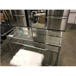 CLEAR GLASS & STAINLESS MAKE UP VANITY WITH MIRROR (INCLUDES BENCH SEAT)