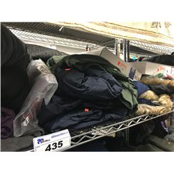 SHELF LOT OF ASSORTED JACKETS, SWEATERS, XMAS SUITS