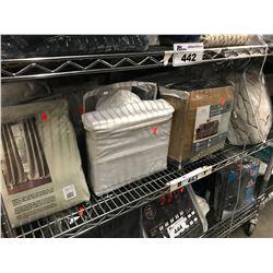 SHELF LOT OF ASSORTED BED SHEET SETS, CURTAIN PANELS, BLANKET, ETC