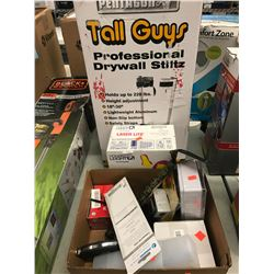 PENTAGON TALL GUYS PROFESSIONAL DRYWALL STILTZ, HOWARD LEIGHT EAR PLUGS, BOX OF ASSORTED TOOLS