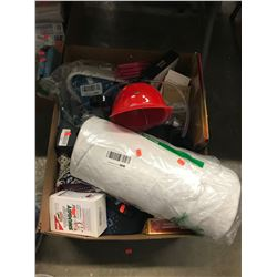 BOX OF ASSORTED HOUSEHOLD ITEMS, ELECTRONICS, LINEN, ETC