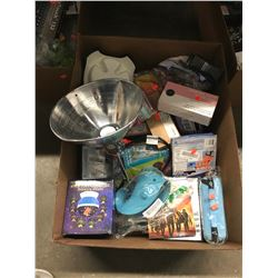 BOX OF ASSORTED HOUSEHOLD ITEMS, ELECTRONICS, TOYS, ETC
