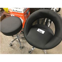 2 ROLLING BLACK STOOLS