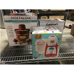 NOSTALGIA ICE CREAM MAKER/CUISINART POPCORN MAKER/JELLY BELLY SNOW CONE MACHINE