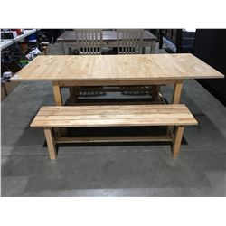 SOLID WOOD DINING TABLE WITH 1 LEAF & 2 BENCH SEATS