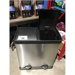 DUAL STAINLESS STEEL LIDDED GARBAGE CAN