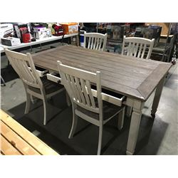 5 PCS. DINING TABLE SET FEATURES TABLE WITH 6 PULL OUT DRAWERS & 4 CHAIRS