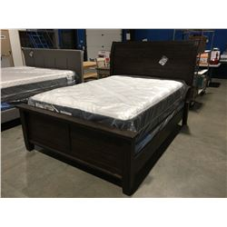 QUEEN SIZED SOLID WOOD WITH DARK BROWN FINISH BED - HEADBOARD, FOOTBOARD & RAILS