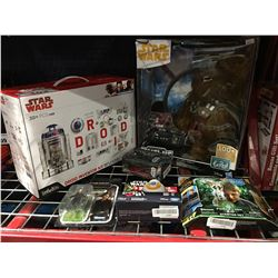 GROUP OF 6 STAR WARS COLLECTABLES- DROID INVENTOR KIT/ CHEWIE DOLL/ FORCE LINK / K250/ BB-8 & JYM